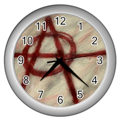 Anarchy Print Silver Wall Clock