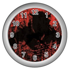 Tormented Devil Silver Wall Clock