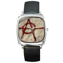 Anarchy Black Leather Watch (square)
