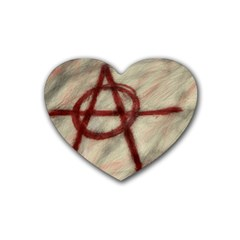 Anarchy Rubber Drinks Coaster (Heart)