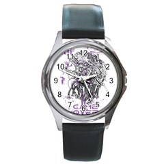 Game Over Black Leather Watch (Round)