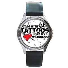 Dudes with Tattoos Black Leather Watch (Round)