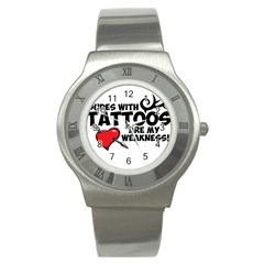 Dudes With Tattoos Stainless Steel Watch (round)