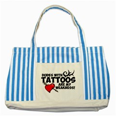 Dudes With Tattoos Blue Striped Tote Bag