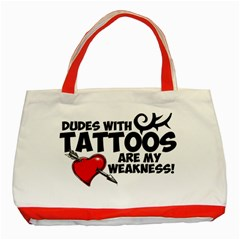 Dudes with Tattoos Red Tote Bag