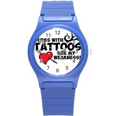 Dudes with Tattoos Round Plastic Sport Watch Small