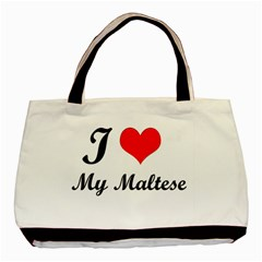 I Love My Maltese Twin Sided Black Tote Bag