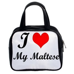 I Love My Maltese Twin-sided Satchel Handbag