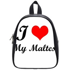 I Love My Maltese Small School Backpack
