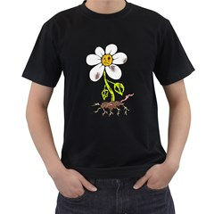 Crazy Daisy  Black Mens'' T-shirt