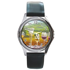 vine Black Leather Watch (Round)