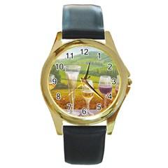 vine Black Leather Gold Rim Watch (Round)