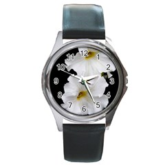 White Peonies   Black Leather Watch (Round)