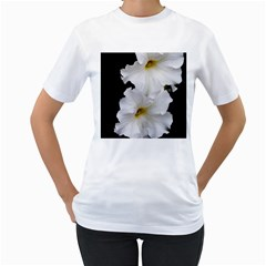 White Peonies   White Womens  T-shirt