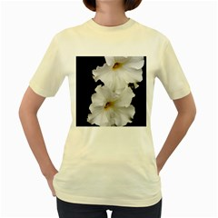White Peonies   Yellow Womens  T-shirt