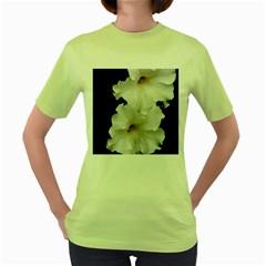 White Peonies   Green Womens  T Shirt