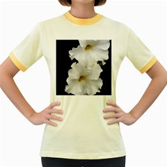 White Peonies   Colored Ringer Womens  T-shirt
