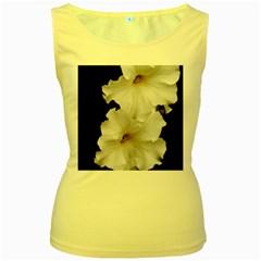 White Peonies   Yellow Womens  Tank Top