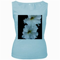 White Peonies   Baby Blue Womens  Tank Top