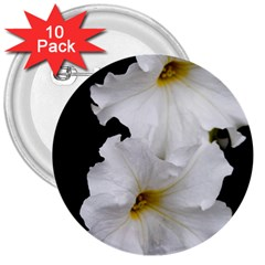 White Peonies   10 Pack Large Button (Round)