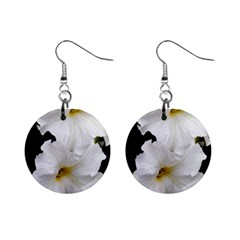 White Peonies   Mini Button Earrings