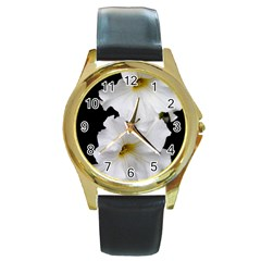 White Peonies   Black Leather Gold Rim Watch (Round)