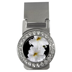 White Peonies   Money Clip with Gemstones (Round)