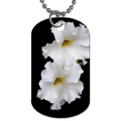 White Peonies   Single-sided Dog Tag