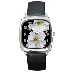 White Peonies   Black Leather Watch (Square)
