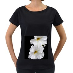 White Peonies   Black Oversized Womens'' T Shirt