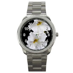 White Peonies   Stainless Steel Sports Watch (Round)