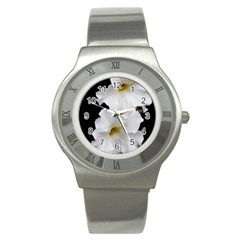 White Peonies   Stainless Steel Watch (Round)