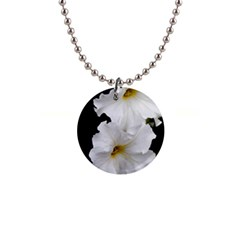 White Peonies   Mini Button Necklace