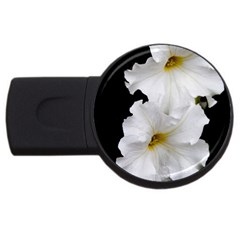 White Peonies   4Gb USB Flash Drive (Round)