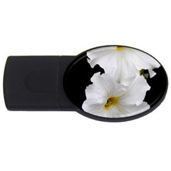 White Peonies   4Gb USB Flash Drive (Oval)