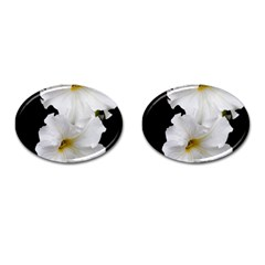 White Peonies   Oval Cuff Links