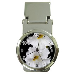 White Peonies   Chrome Money Clip with Watch