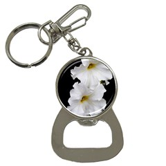 White Peonies   Key Chain With Bottle Opener