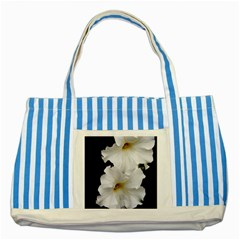 White Peonies   Blue Striped Tote Bag
