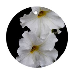 White Peonies   Twin-sided Ceramic Ornament (Round)