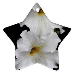 White Peonies   Twin-sided Ceramic Ornament (Star)