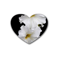 White Peonies   Rubber Drinks Coaster (heart)