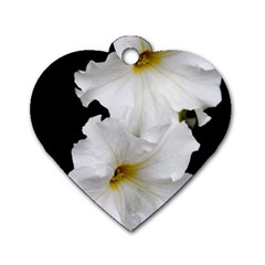 White Peonies   Twin-sided Dog Tag (Heart)