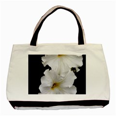 White Peonies   Twin-sided Black Tote Bag