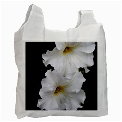 White Peonies   Twin Sided Reusable Shopping Bag
