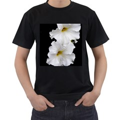 White Peonies   Black Mens'' T-shirt
