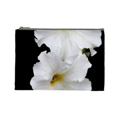 White Peonies   Large Makeup Purse