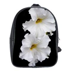 White Peonies   Large School Backpack