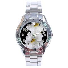 White Peonies   Stainless Steel Analogue Watch (Round)