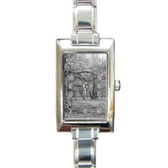 Black And White Forest Classic Elegant Ladies Watch (rectangle)